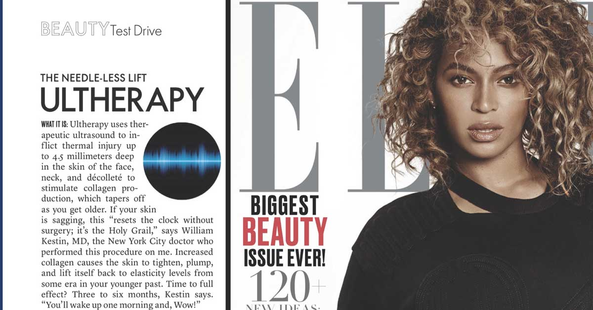 As Seen In: Elle Magazine On Ultherapy